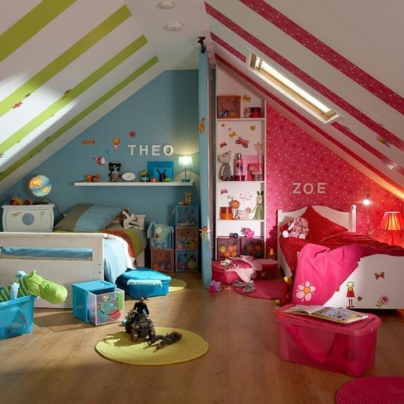 Детская в мансарде - Построй свой дом.