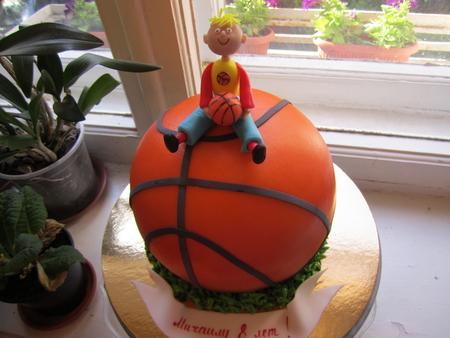 Торт в виде баскетбольного мяча фото